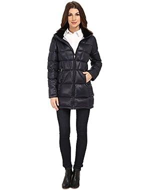 Women's Packable Down Walker Coat with Velvet Collar