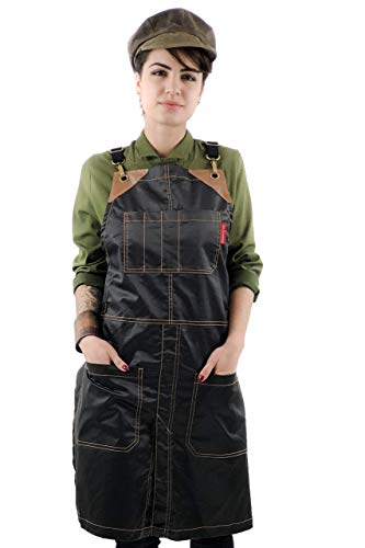 - Cross-Back Chimney Black Apron - Coated Twill with Leather Reinforcement and Split-Leg - Adjustable for Men and Women - Pro Barber, Tattoo, Hair Stylist, Barista, Bartender, Server Aprons