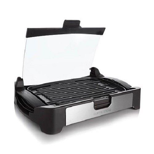 Curtis Stone 1700-watt Nonstick Reversible Grill/griddle with Glass Lid