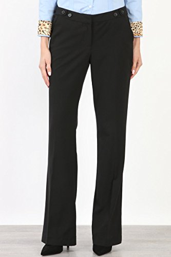 Maryclan Career Women's Dress Pants Little Boot Cut With Double Button Tab Detail (Large, Black) by Maryclan (Image #2)