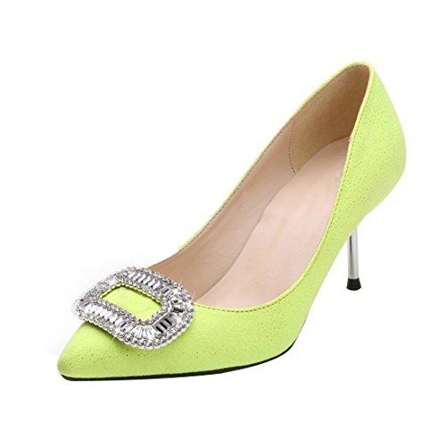 HooH Women's Bling Diamonds Kitten Pumps T253 Green bN8d3kk6