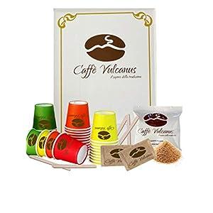 Caffè Vulcanus - Kit assaggio 100 cialde ESE44 + ECO accessori. Degustazione caffè miscela Napoli, Ischia, Capri e DEK.