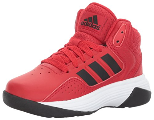 adidas NEO Boys' CF Ilation Mid K Basketball-Shoes, Scarlet/Black/White, 4 Medium US Little Kid (Basketball Iv Shoes)