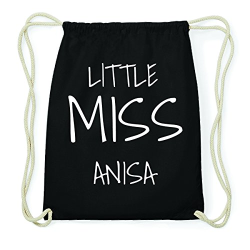 JOllify ANISA Hipster Turnbeutel Tasche Rucksack aus Baumwolle - Farbe: schwarz Design: Little Miss