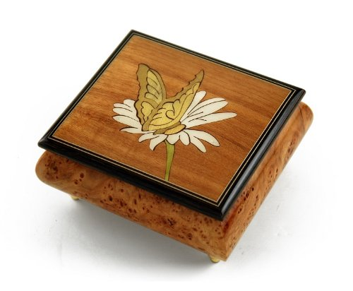 Gorgeous Natural Wood Tone Butterfly and Daisy Inlay Music Box - Over 400 Song Choices - Reich Mir Die Hand Mein Laben SWISS (+$40) (Mira Wood Box)