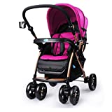 Baby Strollers Buggies Can Sit Lay Portable Foldable Pushchairs High Landscape Cushioning Light Prams Pushchair Travel Systems (Color : Red, Size : 33.0725.1944.09inchs)