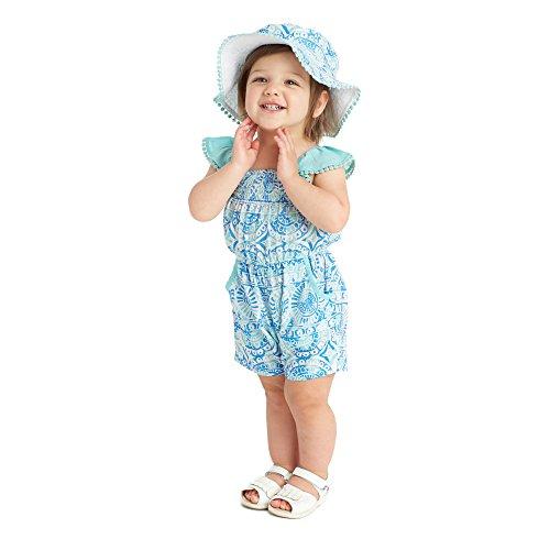 Masala Baby Baby Girls' Zuri Romper, Java Turquoise, 6-12M