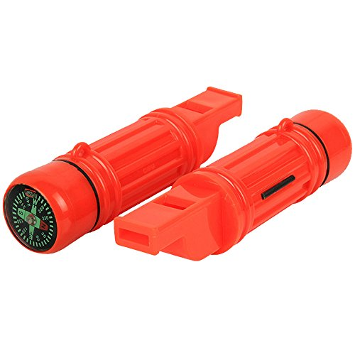Mini Emergency Survival Whistle 5in1 Safety Survival Compass Flint Waterproof Storage - Pealess Waterproof Whistle