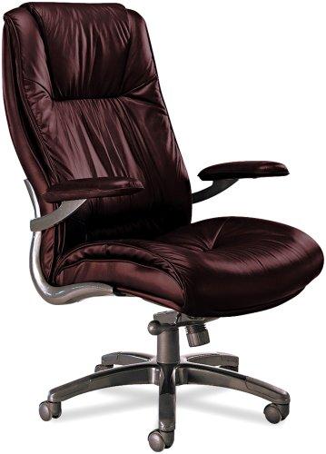 Tiffany Industries ULEXBUR High-Back Swivel/Tilt Chair, Gunmetal Aluminum Base, Burgundy Leather