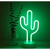 Cactus Neon Sign Night Light Lamp with Holder Base Decorative Marquee Signs Light Battery Operated Wall Decoration for…