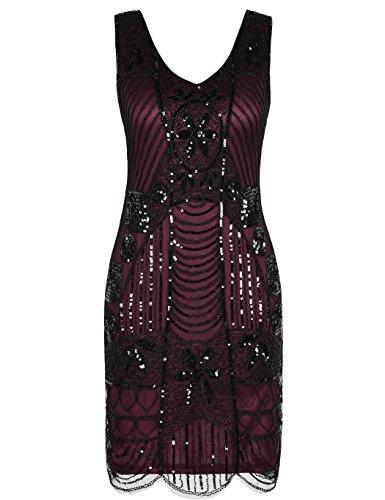 kayamiya Women's Retro 20s Beaded Inspired Gatsby Flapper Plus Size Dress XXL Burgundy -