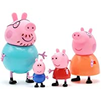 TOYQO Kid's PVC Pig Family - Peppa, George, Mummy, Daddy Toy Set Action Figure Compatible with Peppa Pig Characters (9 and 5.8 cm, Multicolour) -Set of 4