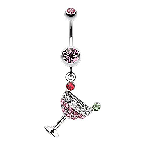 - Bazooky Sparkling Martini Glass Charm Dangle Belly Button Ring (Pick Your Color) (Light Pink)