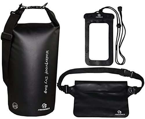 Freegrace Waterproof Dry Bags Set of 3 Dry Bag with 2 Zip Lock Seals & Detachable Shoulder Strap, Waist Pouch & Phone Case - Can Be Submerged Into Water - for Swimming (Black, 10L)
