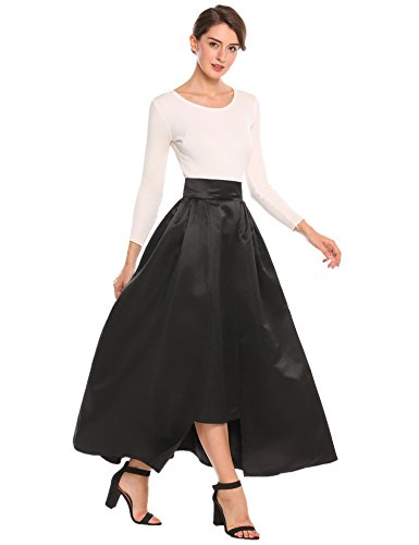 zeagoo Women High Elastic Waist Flare A-line Full Midi Office Skirt with belt Black L (Belt Full Skirt)