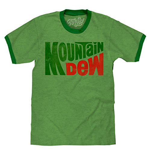 Tee Luv Mountain Dew T-Shirt - Vintage MT Dew Ringer Tee Shirt (X-Large)  Green Heather/Kelly -