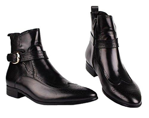 Santimon-mens Echt Leer Hoge-top Enkellaarzen Causale Vrijetijdsschoenen Oxford Schoenen Zwart