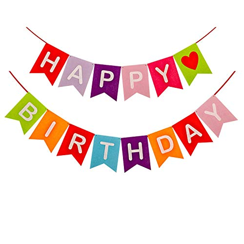 Oceanton Happy Birthday Banner Felt Cloth Bunting Party Decorations -