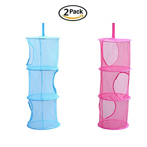 2Pcs Hanging Mesh Storage , Ksmxos Multifunctional Organizer 3 Compartments Foldable Portable Mesh Basket Travel Folding Kids Toy Bags Hanging Clothes Dryer Net Used for Bedroom Wall Closet