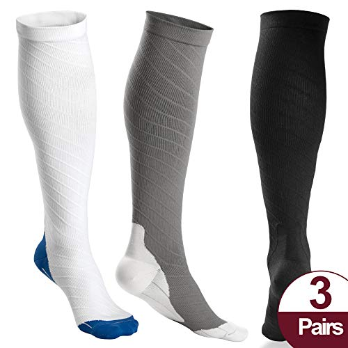 OXYVAN 3 Pairs Compression Socks Women and Men - Athletic Fit For Running,Travel,Recovery,Pregnancy & Medical 3 Pair Sock Pack