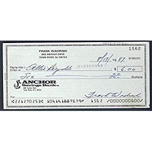 Allie Reynolds New York Yankees Autographed/Signed Check 122103