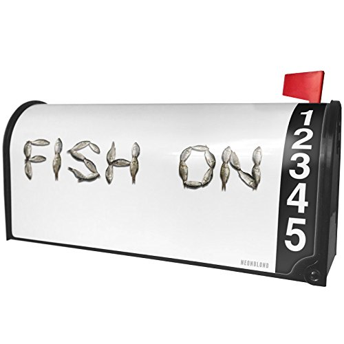Fish Mailbox - NEONBLOND Fish On Fish Fishing Magnetic Mailbox Cover Custom Numbers