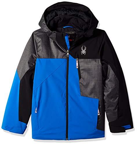 Spyder Boys' Ambush Ski Jacket, Turkish Sea/Polar Herringbone/Black, Size 10