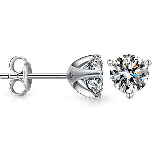 Cubic Zirconias Stud Earrings Fake Diamond Earrings 6mm CZ Stud Earrings Sterling Silver Diamond Earrings,Womens Cubic Zirconia Earrings Princess Cut Silver CZ Earrings,Diamond Post Earrings for Women