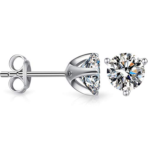 a2738dda86b6e CZ Diamond Stud Earrings Sterling Silver Princess Cut Simulated Diamond  Stud Earrings,Women Fashion Round Cubic Zirconia Stud Earrings,Women Simple  ...