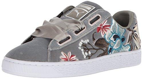 - PUMA Women's Basket Heart Hyper Embossed Wn Sneaker, Rock Ridge, 8 M US