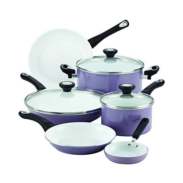 Farberware Ceramic Nonstick Cookware Pots and Pans Set, 12 Piece, Lavender 3