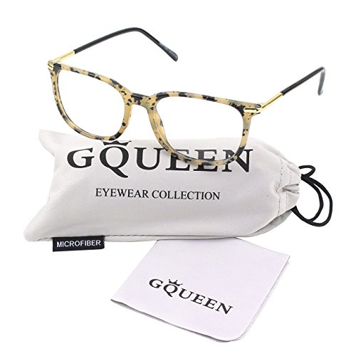 Plain Lens (GQUEEN 201579 Fashion Metal Temple Horn Rimmed Clear Lens Glasses,Spot)