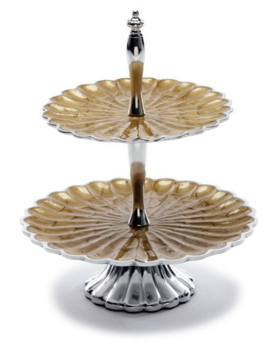 Julia Knight Peony Two-Tiered Server Plate, 11.5-Inch, Toffee, Brown