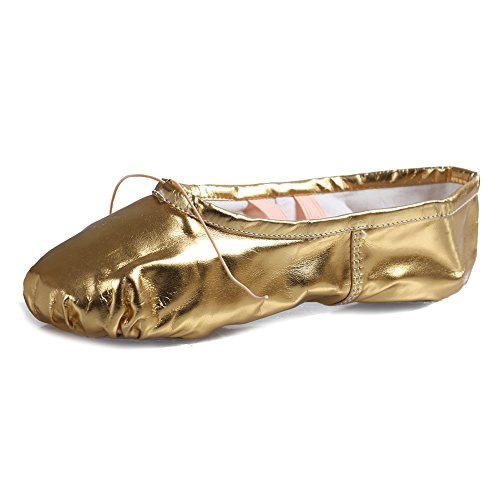 Roymall Women's&Girls Gold Leather Ballet Dance Shoes/Slipper/Yoga/Gymnastics Flat Split Sole Shoes,CBL,13 M Little Kid ()