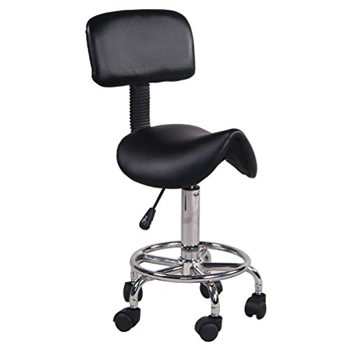 Homgrace Hydraulic Salon Stool Rolling Saddle Chair, Adjustable 360 Degree Swivel Massage Chair Tattoo Facial Spa with Backrest (Black 2)
