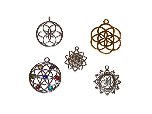Flower of Life Jewelry Making Charms Pack of 5 Mixed Charms from...