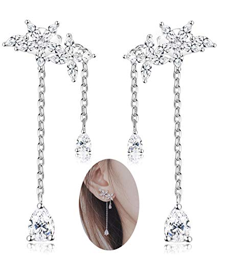 Leaf Design Earrings - Milacolato 925 Sterling Silver Leaves Wrap Earrings Crawler for Women Girls Dainty Flowers Threader Tassel Chain Detachable Design Jewelry