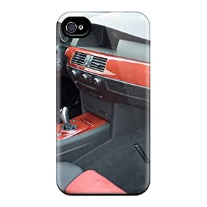 Rugged Skin Case Cover For Iphone 4/4s- Eco-friendly Packaging(bmw Hamann M5 Race Interior)
