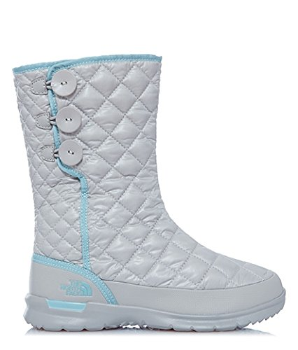 The North Face Womens Thermoball Button up Fleece Outdoor Walking Boots - Shiny Dove Gray/Stratosphere Blue - 10