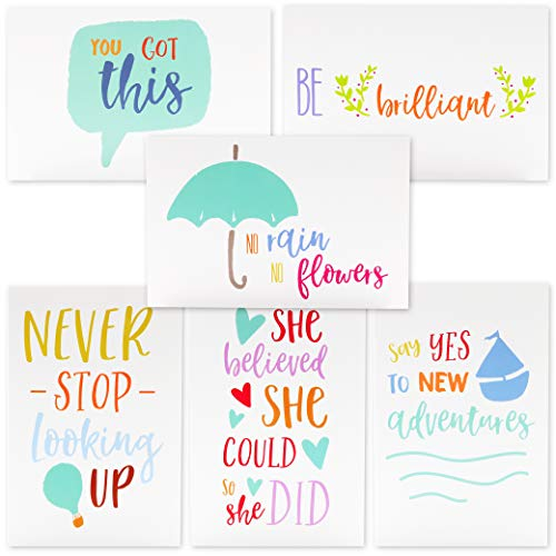 (Best Paper Greetings 48-Count Inspirational Quote Note Cards Bulk Box Set - 6 Unique Inspiring Motivational Designs with Envelopes, 4 x 6 Inches)