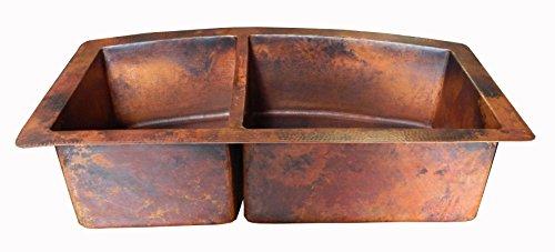 Farmhouse Kitchen Rounded Apron Front Farmhouse Kitchen Double Bowl Mexican Copper Sink 60/40 33X22 Inches farmhouse kitchen sinks