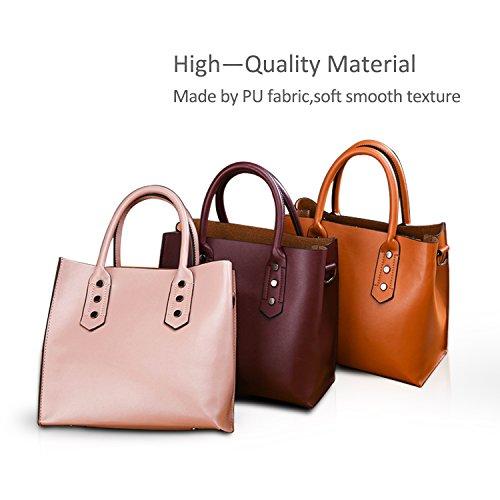 Handle Women's Tote Leather Fashion amp;DORIS Pink Women PU Large Top Fashion for Bags Bag Handbags NICOLE Soft 2018 Shoulder Capacity New Brown AIPwqIxS7