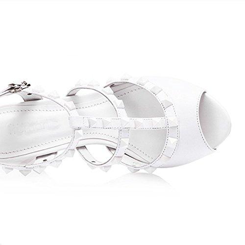 Seven con blanco Cuero Hebilla Sandalias para la Puntera de de Aguja Tacón Mujer Vestir Nine Abierta vaZqw4nvFd