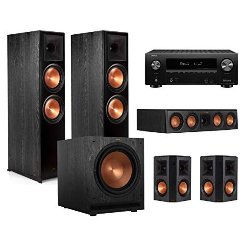 Klipsch RP-8000F 5.1 Home Theater System (Ebony) with AVR-X2500H 7.2-Channel 4K Ultra HD AV Receiver