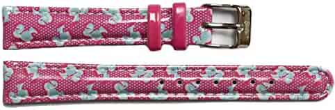 Alexis 14mm Kid's Magenta Print Blue Faux Leather Girls Watch Band Straps 1015D