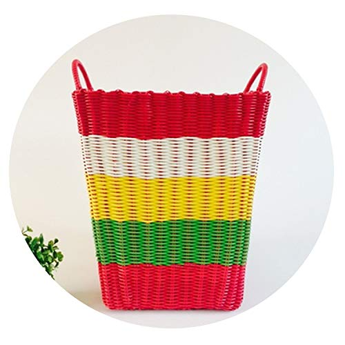 Asteria-Ashley Dirty Clothes Basket. Pure Manual Environmental Protection Plastic Pipe Woven Basket, Toy Basket,1]()