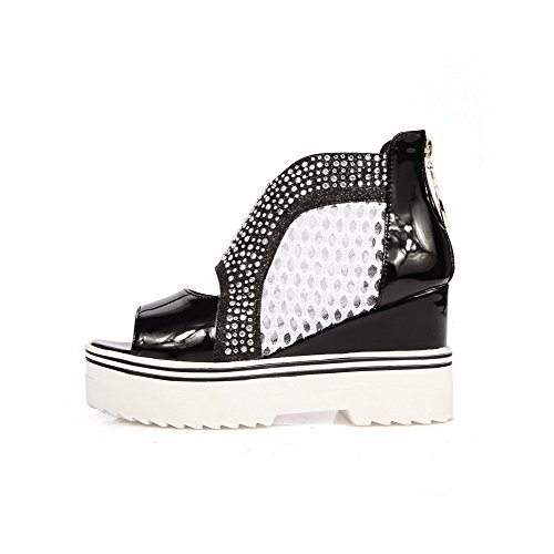 Allhqfashion Mujeres Blend Materials Solid Zipper Open Toe Sandalias De Tacón Alto Negro