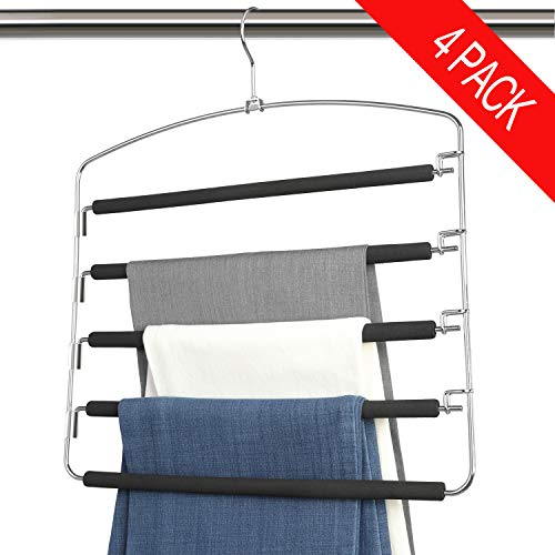 Bloberey Pants Hangers 5 Layers Metal Slack Magic Hangers Non-Slip Foam Padded Swing Arm Space Saving Hanger Clothes Closet Storage Organizer for Pants Jeans Trousers Skirts Scarf Ties Towels(4 Pack)