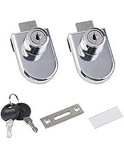 2 Pack Zinc Alloy Jewelry Cabinet Glass Lock,Single Door Elliptical Glass Door Lock Display Cabinet Door Lock 408 Glass Lock (Single Door) (408 Glass Lock (Single Door) 2PCS)
