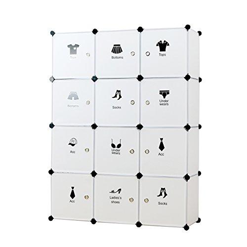 UNICOO - Multi Use DIY Plastic 12 Cube Organizer, Yarn Organizer, Toy Organizer, Storage Cabinet, Wardrobe Closet, Bookcase, White with Door Sticker- (Regular Cube-White)